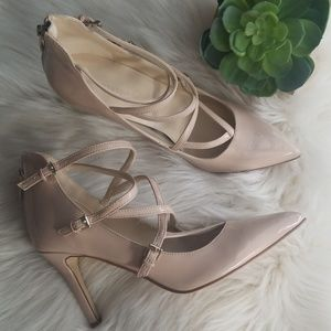 Marc Fisher patent nude pointed toe heels sz 7
